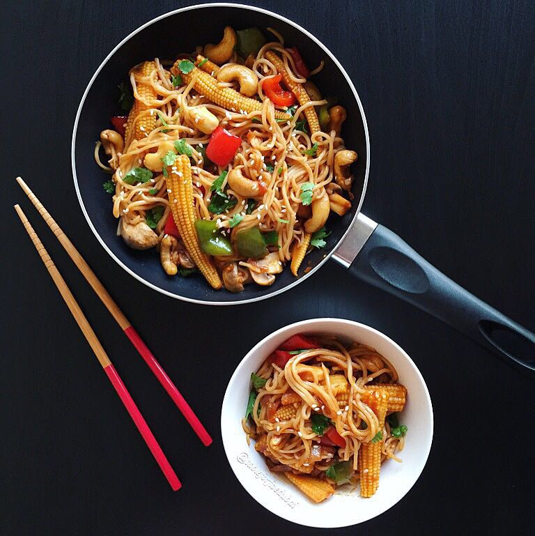 stir fry and noodles