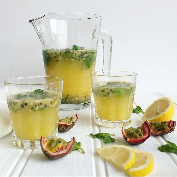 Passionfruit, lemon and mint cooler